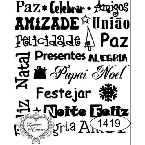 Carimbo texto ref 1419 - 5.5  x 6.5 cm