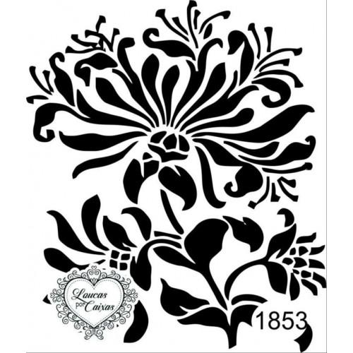 Carimbo estampa flor ref 1853 - tam 6.8 x 8 cm