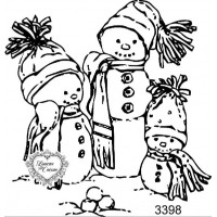 Carimbo Bonequinhos de Neve - 3398 - 9,5 cm x 9,5 cm