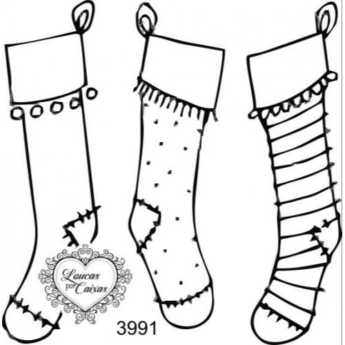 Carimbo meias natal ref 3991 - 6.4 x 6.5 cm