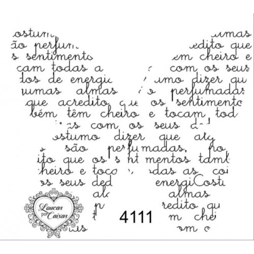 Carimbo borboleta texto ref 4111 - tam 7.5 x 6.8 cm