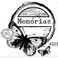 Carimbo borboleta memórias ref 4323 tamanho - 7 x 6.7  cm