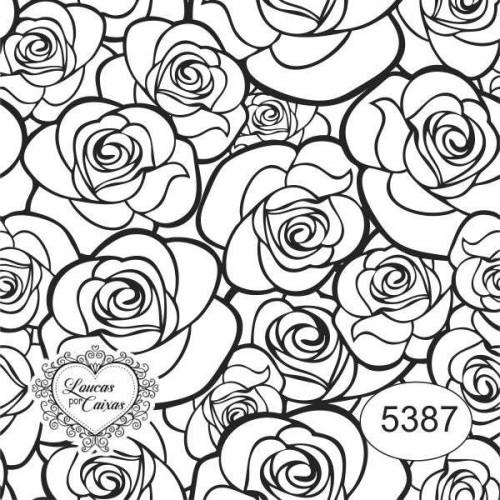 Carimbo ref 5387 estampa floral tam 7 x 7 cm