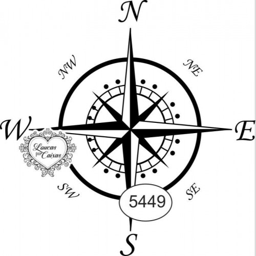 Carimbo ref 5449 mandala rosa dos ventos - 5 x 5 cm