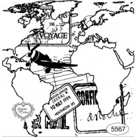 Carimbo Mapa Mundi e Selos - Ref. 5567 - 10 x 10 cm