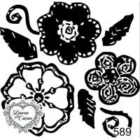 Carimbo estampa floral ref 589