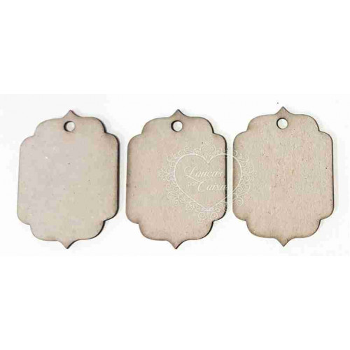 Kit com 3 Etiquetas - Em Papel, Chipboard ou MDF - 5 x 7 cm