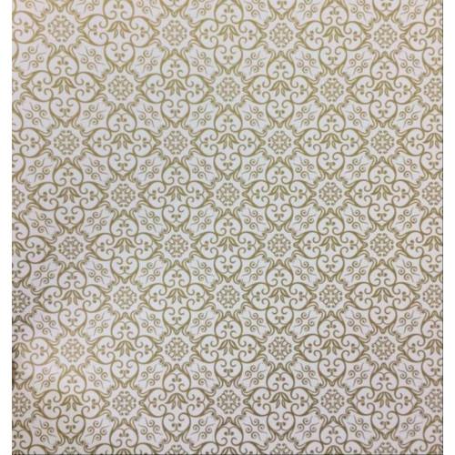 Papel 180g/m² Adamascado Branco e Dourado - tam. 30,5 X 30,5 cm