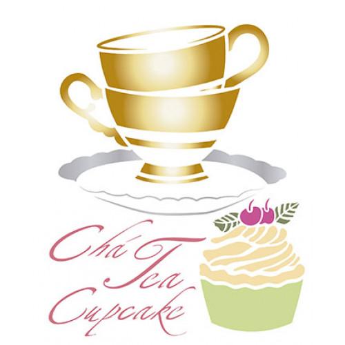 Stencil chá e cupcake -17x21