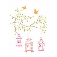 stencil  pássaros e gaiola - 18x23..