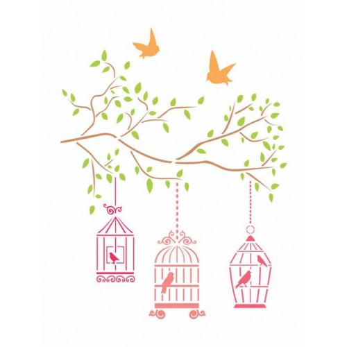 stencil  pássaros e gaiola - 18x23