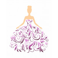 stencil dama rendada - 18x23