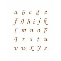 stencil alfabeto minúsculo cursivo - 13x..