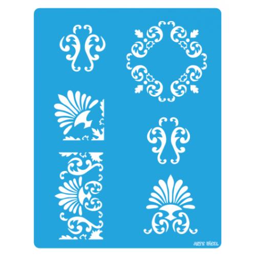 stencil 6 arabescos - 13x17