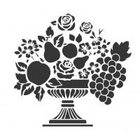 Stencil Vaso de Flores e Frutas - 15x15