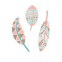 stencil 3 penas tribal - 18x23