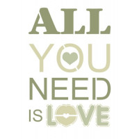 stencil all you need is love - 18x23
