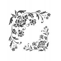 Stencil Cantoneira Arabesco Floral - 18 ..