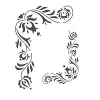 Stencil Cantoneira Floral - 18 x 23