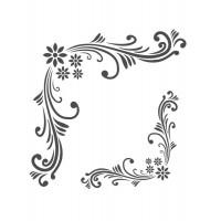 Stencil Cantoneira Floral - 18 x 23..