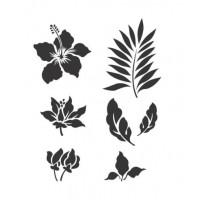 Stencil Flores e Folhas - 18x23..