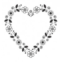 Stencil Coração Flor - 18x23..