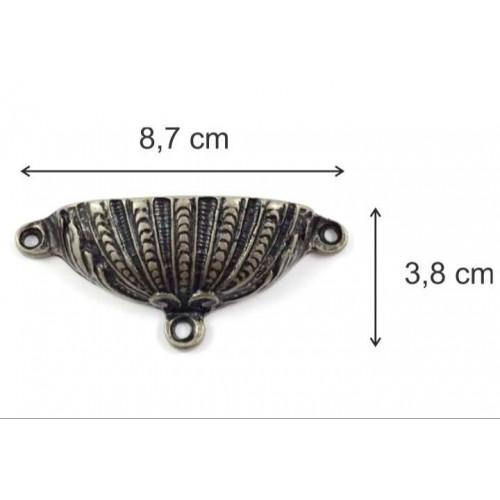 puxador concha - 2 un - ouro velho - Parafusos vendidos à parte