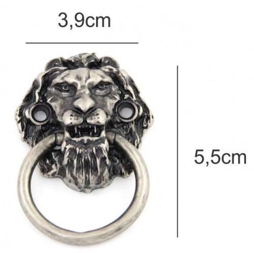 Puxador leão - 2 unid - prata velho ou ouro velho