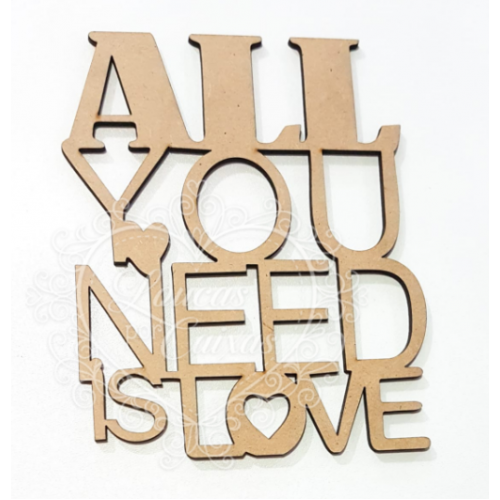 Frase - All you need is love - 1 unid. - 12x15