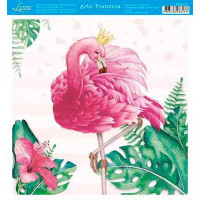 Papel - Arte Francesa - Flamingo Tropical com Coroa - 21x21 cm
