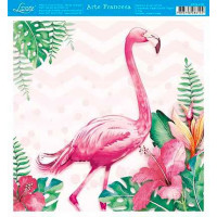 Papel - Arte Francesa - Flamingo Tropical - 21x21 cm