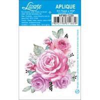 Aplique em papel e MDF - Rosas Aquarela