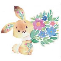 Aplique em Papel e MDF - Coelho com Flores Aquarela
