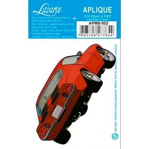 Aplique em papel e MDF - Carro Antigo Vermelho - 4x8 cm