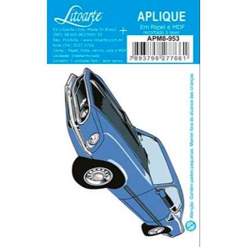 Aplique em papel e MDF - Carro Antigo Azul - 4x9 cm