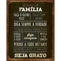 DECOR HOME - Placa Regras da Familia 19x24