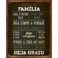 DECOR HOME - Placa Regras da Familia 19x..