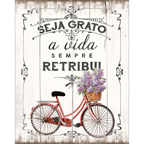 DECOR HOME - Placa Bicicleta, Seja grato 19x24