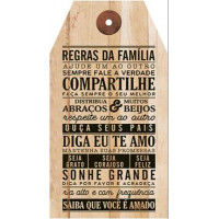 DECOR HOME - Placa Tag Regras da Familia... 19x35