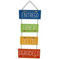 DECOR HOME - Placa Entrego, Confio, Aceito, Agradeço 24x55