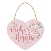 DECOR HOME TAG - Placa Tag Coração Minha Heroina 12x10