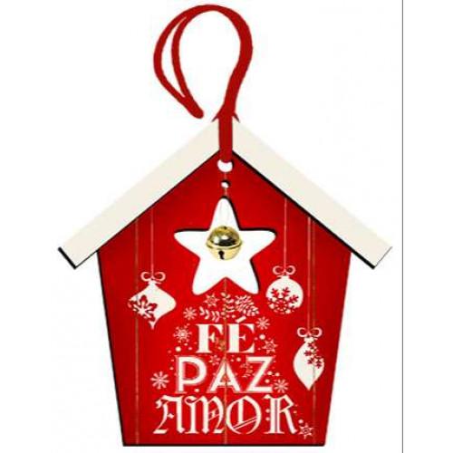 DECOR HOME TAG NATAL - Casinha Vermelha Fé, Paz e Amor