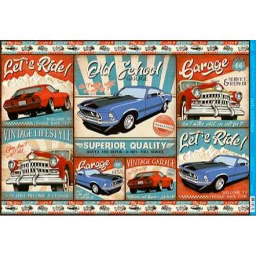 Papel Decoupage - Carros Vintage - 49x34 cm