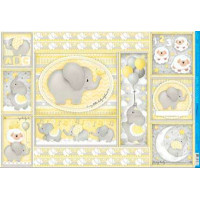 Papel Decoupage - Elefante Bebê Amarelo - 49x34,3 cm