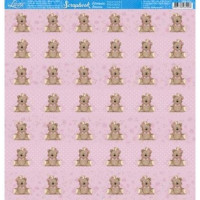 papel 180g  ursinha com coroa rosa- face única
