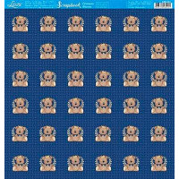 papel 180g  ursinho com coroa azul marinho- face única