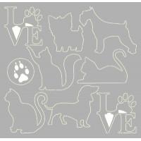 Cães e gatos em chipboard - Scrap embele..