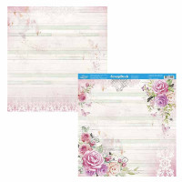 Papel Scrap Rosas Aquarela - Dupla Face 30,5x30,5 - 180g