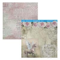 Papel Scrap Rosas, Cavalo, Arabescos, Castelo - Dupla Face 30,5x30,5 - 180g
