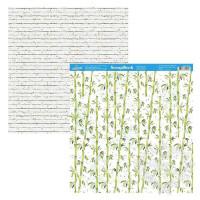 Papel Scrap Bambu, Folhas Verdes - Dupla Face 30,5x30,5 - 180g